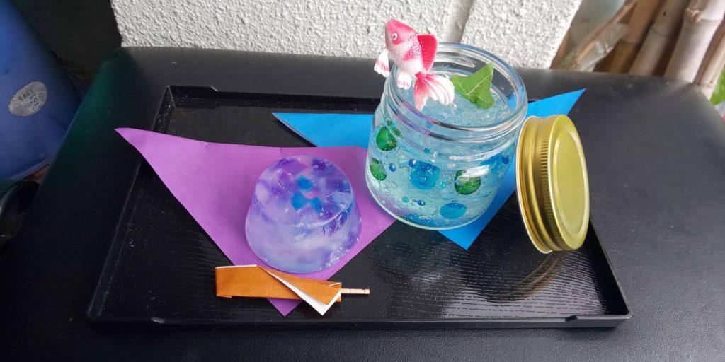 左が石鹸(7/31) 右が消臭芳香剤(8/7) 材料費はどちらも500円の予定